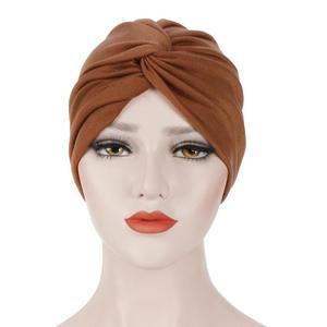 Image 3 - Gorro con turbante plisado para mujer, gorro musulmán para quimio, ropa interior, tocado, fundas para pañuelos de pelo, accesorios de moda