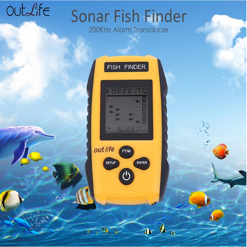 Outlife 0.7-100M 200KHz Fish Finder Portable Sonar Sounder Echo Alarm LCD Fishing Lure Echo Sounder Carp Fishing Finder