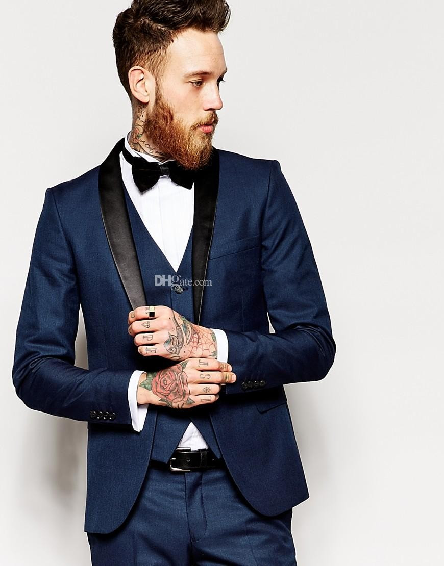 Side Vent Slim Fit Groom Tuxedos Shawl Collar Men's Suit Navy Blue  Groomsman/Bridegroom Wedding Suits (Jacket+Pants+Tie+vest)-in Suits from  Men's Clothing ...