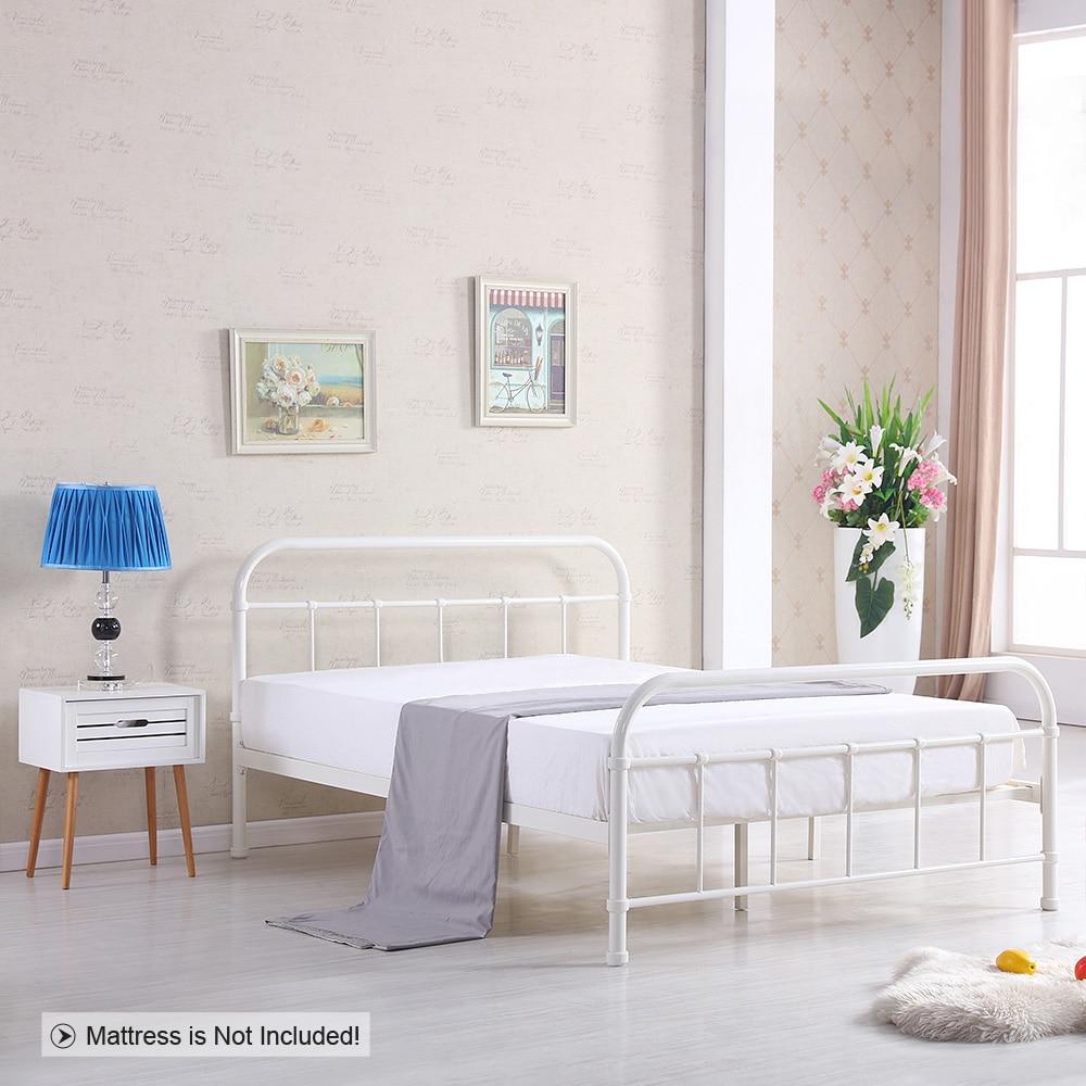 Ikayaa de metal cama Marcos con listones de madera king size colchón ...