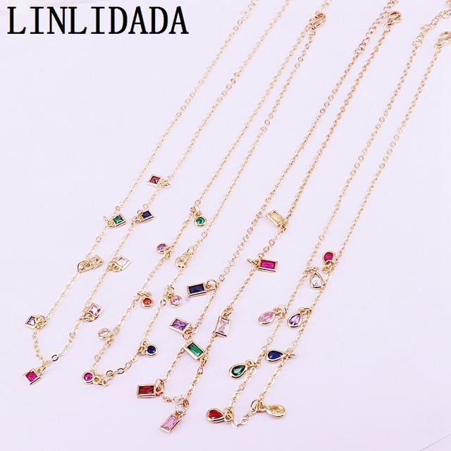 6Pcs New Sparking Micro Pave multicolors rainbow cz drop/square/oval/round Pendant Charms Necklace gold color fashion jewelry