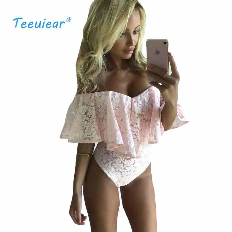 Nowy mody 2019 wzburzyć Off Shoulder bluzka garnitur lato koronki kwiatowy Casual Blusas koszula ciała kobiet Body Sexy plaża bluzki