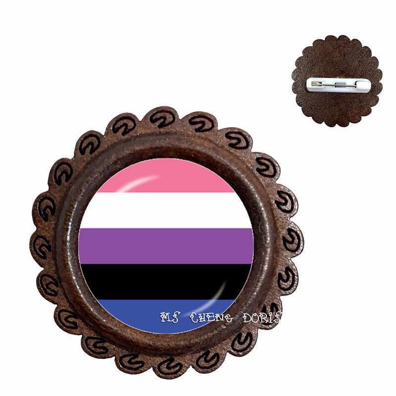 Mode Hout Broche Bi Pride Glas Dome Kragen Pins Gay Pride Regenboog Vlag Foto LGBT Sieraden Voor Vrouwen Mannen lover gift