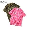 Camuflagem cor de rosa O-pescoço Hiphop T-shirt Dos Homens Das Mulheres 2017 Verão Nova Moda Streetwear Camo Camisetas camisa Dos Homens T 2 Cores