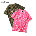 Rosa de Camuflaje O Cuello de Hiphop Camiseta de Los Hombres de Las Mujeres 2017 Verano Nueva Moda Streetwear Camo Tee Shirts Hombres camiseta 2 Colores