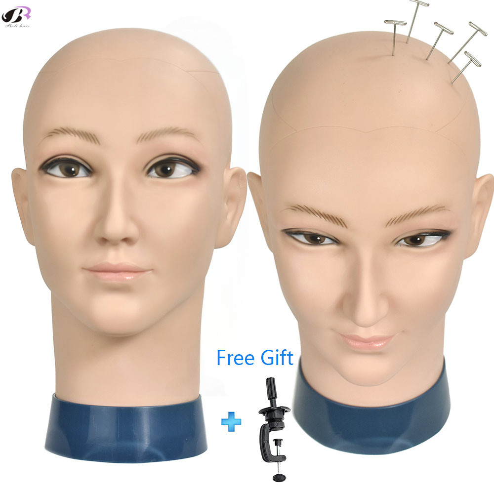 Smile Bald Wig Stand Head With Clamp Mannequin Head For Wig Making Hat Display Cosmetology Manikin Head For Makeup Practice
