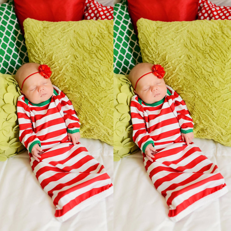 Pudcoco 2018 Newborn Baby Boy Girl Christmas Nightgowns Striped Gown ...
