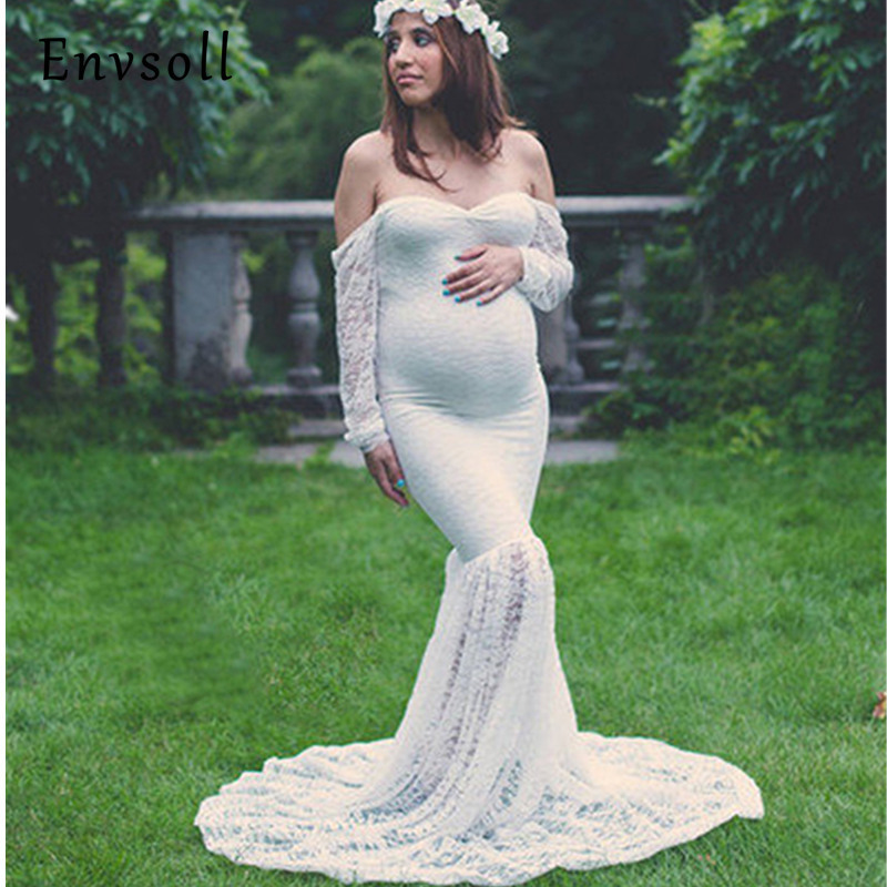 Envsoll Maternity Dress Maternity Photography Props Lace Sexy Maxi Dress Elegant Pregnancy Photo Shoot Maternity Lace Dresses