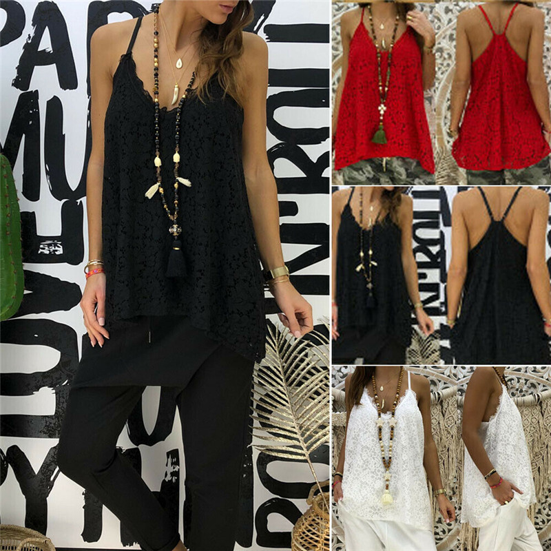 2019 New Womens Lace Print Sling Vest Top Summer Loose Cami Tank Camisole HOT Price $6.29