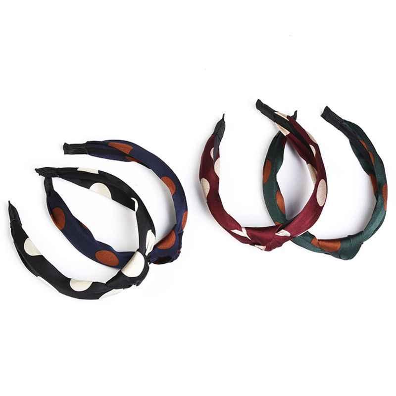 Минималистичная винтажная имитация шелка повязка на голову в крупный горошек принт центр скрученный узел широкий обруч для волос женские аксессуары для укладки волос