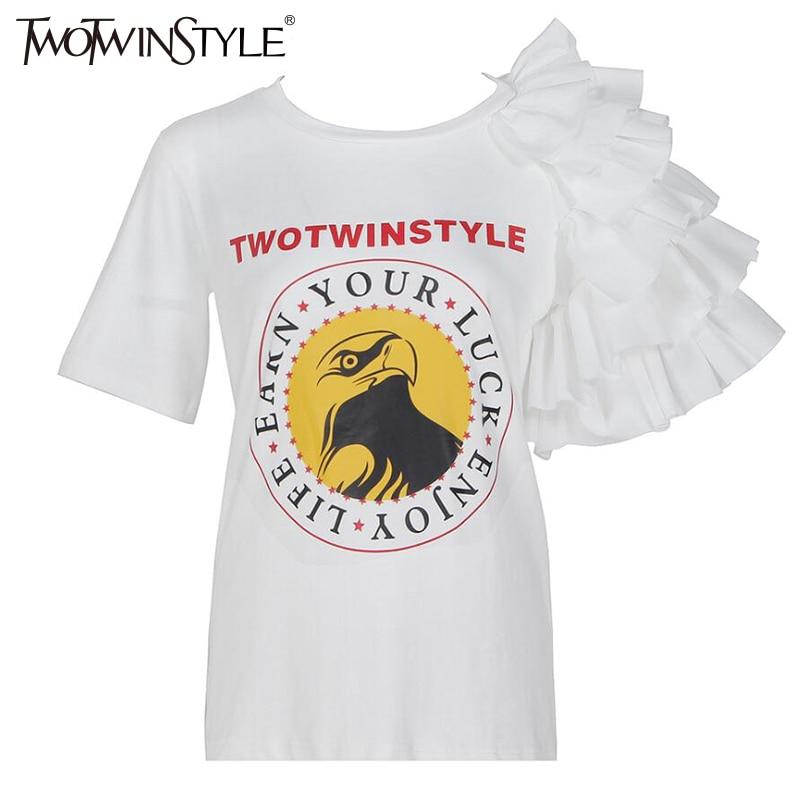 TWOTWINSTYLE 2017 Summer Ruffle Funny Kortærmet Kvinde T-shirts - Dametøj