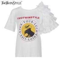 Twotwinstyle 2017夏フリル面白いショートスリーブ女性tシャツ女性トップスグラフィックtシャツホワイト服ファッション韓国