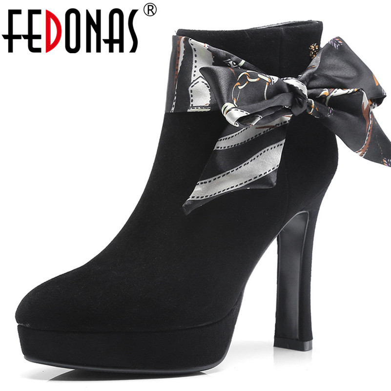 FEDONAS Fashion Brand Women Ankle Boots Riband Bowtie Party Wedding Shoes Woman High Heels Platfroms Newest Basic Boots FEDONAS Fashion Brand Women Ankle Boots Riband Bowtie Party Wedding Shoes Woman High Heels Platfroms Newest Basic Boots