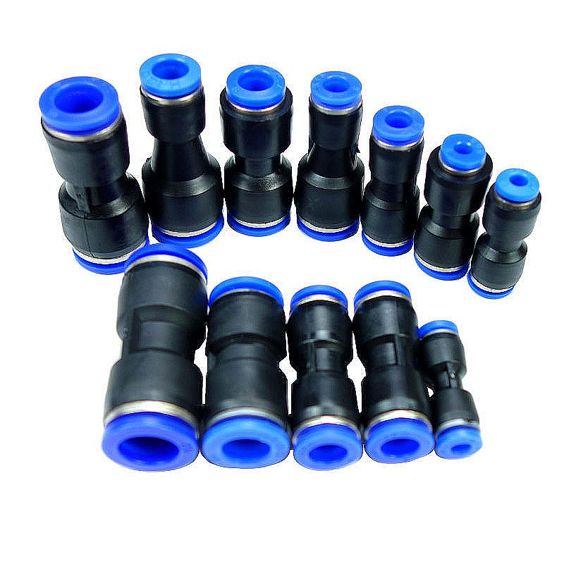 4mm 6mm 8mm 10mm 12mm Tube OD Equal Or ReduingAir Pneumatic One Touch Push In Straight Union Fitting Plastic Quick Connectors