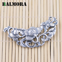 BALMORA Authentic 990 Pure Silver Hollow Flower Pendants For Necklaces Women Accessories Gifts Vintage Silver Jewelry