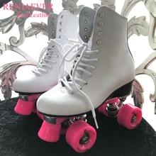 Reniaever двойные роликовые коньки, обувь для катания на коньках, высокие сапоги из натуральной кожи, подарок женские розовые колеса, фигурные коньки, белые
