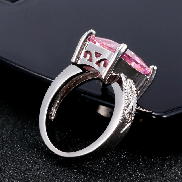 925 Silver Jewelry Cubic Zirconia Rectangle Pink Cushion Stone Rings 3