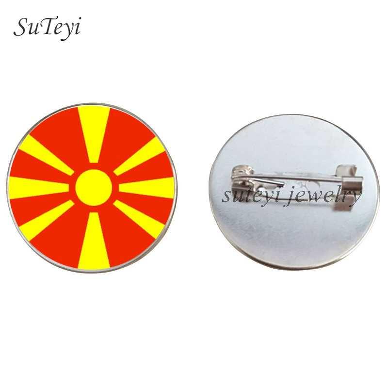 Broche de la bandera de los países europeos de SUTEYI Romania/Malta macedra/Moldavia/Monaco insignias alfileres broches joyería regalo de Navidad