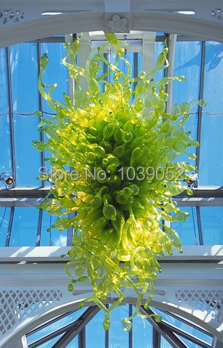Cheap Price Green Color Glass Chandelier LED Saving Light Source Style Hand Blown Murano Glass Long Chandelier in Ceiling Lights from Lights Lighting