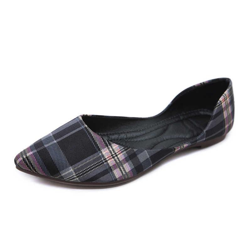 Tangnest Nieuwe Lente Boerenbont D' Orsay Flats Vrouwen Ondiepe Slip Op Wees Teen Platte Schoenen Dame Comfort Casual Footwear XWD6868