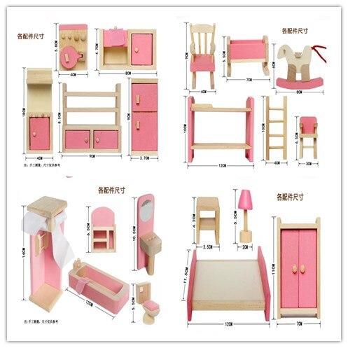 4 Set Dollhouse Meubles Enfant Jouet Salle De Bains Salle De Bains Enfant Chambre à coucher Cuisine Classique Jouets Jeux de simulation Jouet Fille Decroation