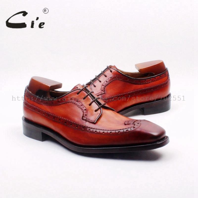 Bespoke Sapato Mão Personalizado Brown Homens Brogues Completa Derby Cie De Bezerro up pintado Grátis Handmade Buttom Outsoled232 Couro Lace Frete qE1WcPfg