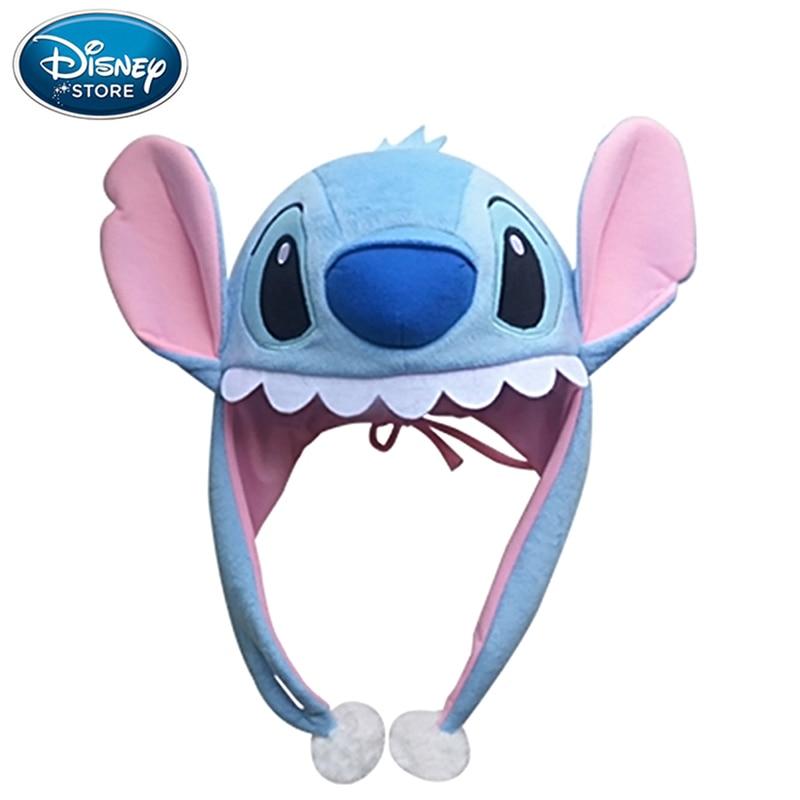 Disney Genuine Hat Mickey Mouse Minnie Stitch Cartoon Animal Plush Hat Cap Tab Plush Toys Birthday Christmas Gifts For Kids