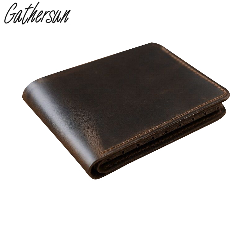 Gathersun Brand High Quality Vintage Retro Handmade Genuine Leather Cowhide Men's Short Wallet Wallets Purse Card Holder For Man ms brand men wallets dollar price purse genuine leather wallet card holder designer vintage wallet high quality tw1602 3