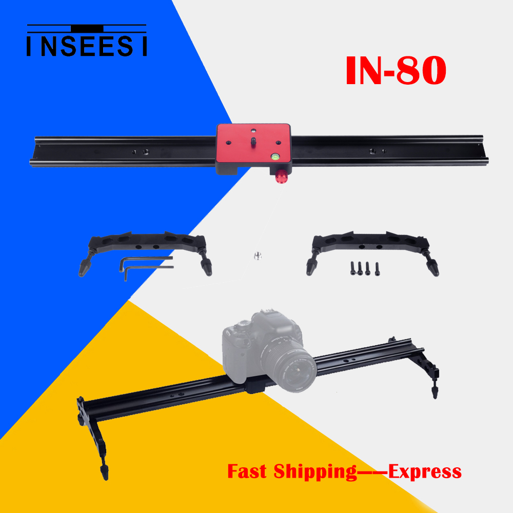 ФОТО INSEESI IN-80 Slider Rail for Canon Nikon Sony Camcorder Portable 80cm DHL Express Motion Track Dolly Stabilizer Bearing System