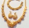 Благородный 24 К реального Чистого золота GF бабочка ожерелье серьги браслет устанавливает Безусловное Пожизненная Гарантия Замены