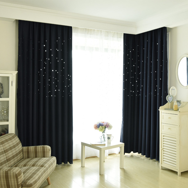 Latest 5 Colors Blackout Pink Solid Star Curtain For Kids Bedroom Green Shade Living Room Window