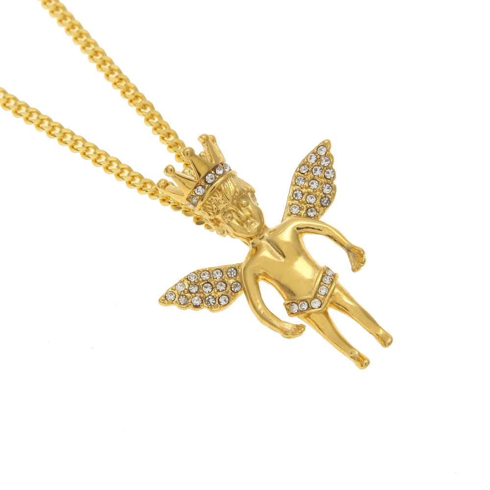 New style gold iced out crown angel baby pendants hip hop charm new style gold iced out crown angel baby pendants hip hop charm necklaces pendants for menswomen gift 24inch cuban chain in pendant necklaces from aloadofball Gallery