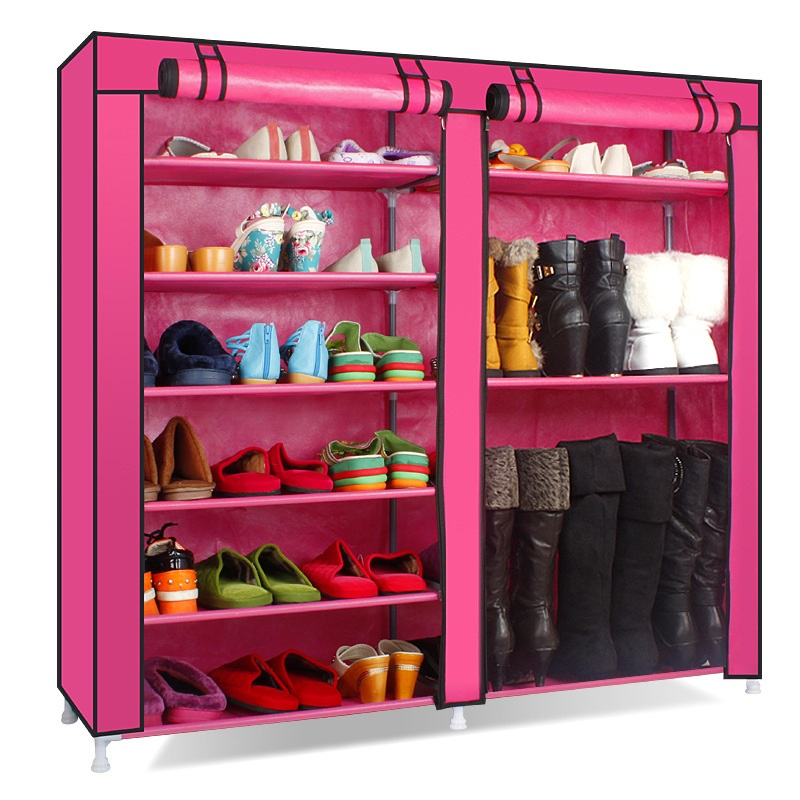 Double Row Shoe Cabinet Non Woven Fabrics Large Shoe Rack Organizer  Removable Shoe Storage For Minimalist Furniture Boots Cabine In Shoe  Cabinets From ...