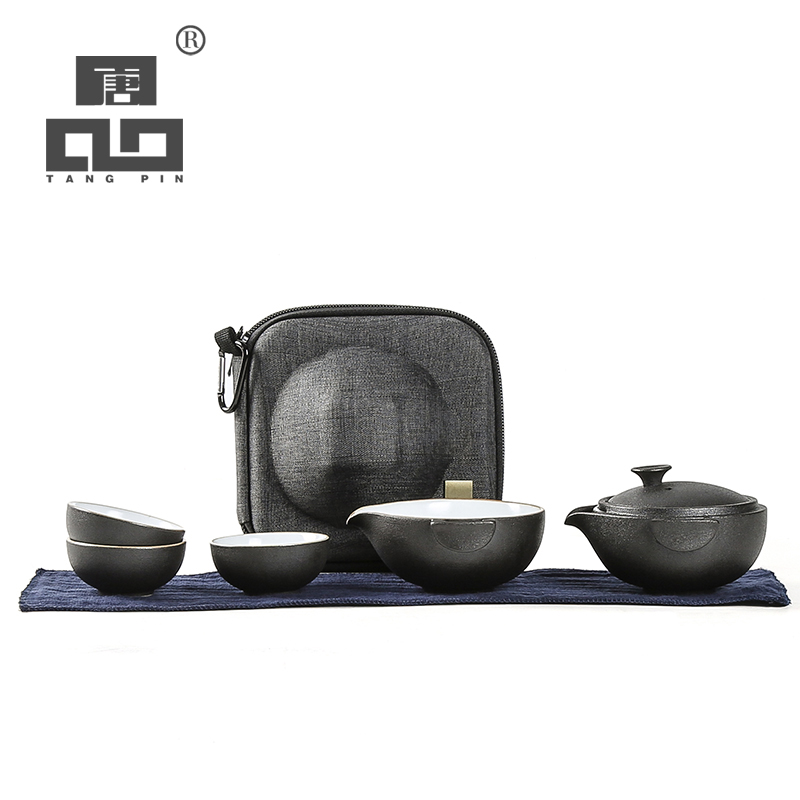 TANGPIN Black Crockery Ceramic Teapot Teacups A Tea Sets Portable Travel Tea Sets With Travel Bag