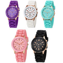 Geneva Brand Candy-colored Silicone Strap Round Watches Hot Women Girl
