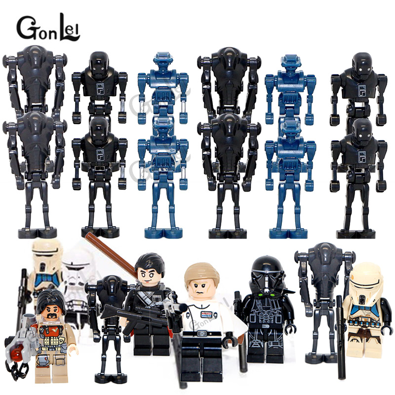 12Pcs/lot Rogue One Blocks Darth Hovertank Imperial Shore Tropper Dlrector K-2SO Droid Building Blocks Compatible With Starwars