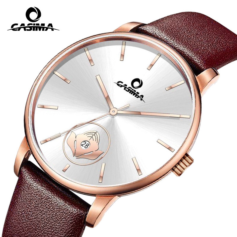 Reloj Hombre Casima Mens Watches Top Brand Luxury Gold Silver Dial Leather Quartz Wrist Watch Clock Men 2018 Saat Montre Homme kol saati new listing montre homme vintage faux leather analog quartz wrist watch mens watches top brand luxury reloj hombre