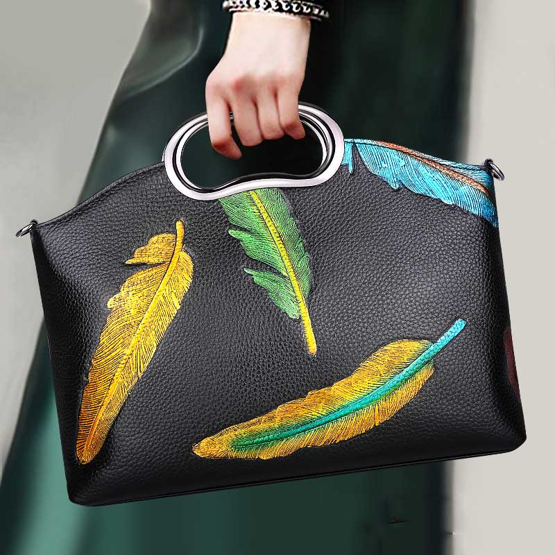 Brand 2018 New Ladies Leather Casual Versatile Shoulder Bag High Quality Leather Portable Handbags Painted Handbags