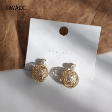 GWACC New Super Fairy Bird Cage Pearl Earrings For Women Girls Round Chic Minimalist INS Korea Style Fashion Jewelry