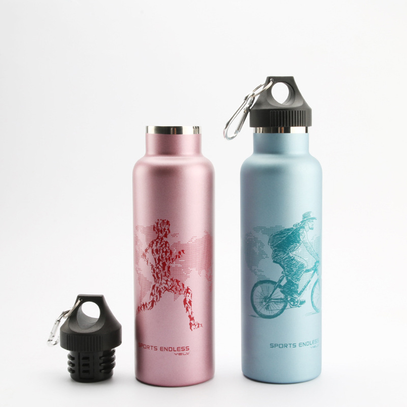 600ml Vaccum Flask Insulation Cup Thermos Bottle Leak Proof with climbing hook Sportsman in WorldMap Pattern Hiking WaterBottle