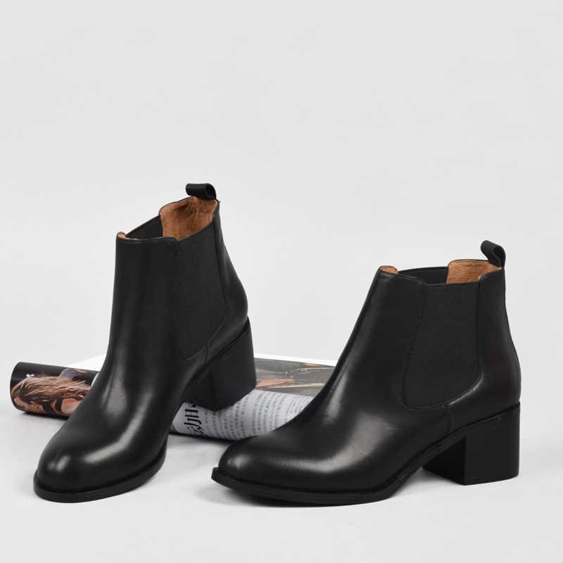 Donna-Hakiki Deri Kadınlar için Kış Çizmeler Klasik Chelsea Doğal Deri Bayan Ayakkabı Yuvarlak Ayak Kalın Topuk yarım çizmeler
