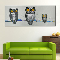 Large Grey Cartoon Nighthawk Pictures Handpainted Abstract Funny Night Owl Oil Paintings on Canvas Modern Home Decor Wall Art