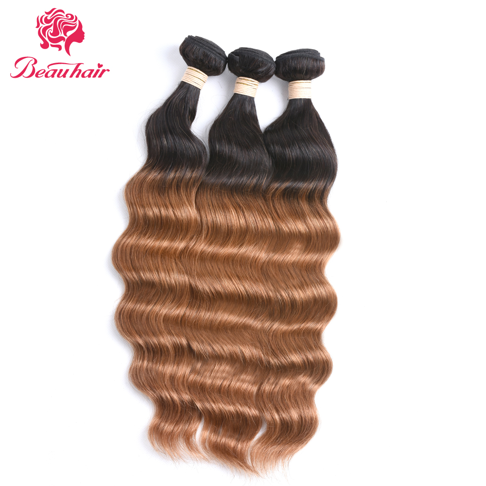 Disciplined Beau Hair 3 Human Hair Bundle T1b/30# Hair Weaving Ombre Color Malaysia Ocean Wave Non Remy Hair Free Shipping 3 Bundle One Pack Hair Weaves