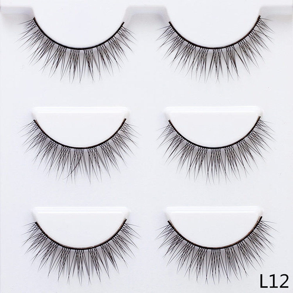 12mm Crisscross False Eyelashes 3 Pairs Fake Lashes Natural Long Thin Makeup Lashes Extension Eyelashes for Makeup L12