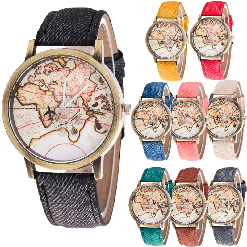 Top brand luxury watch montre femme 2017 Relogio Fashion Women's watches World Map Cowboy Band Quartz Wrist Watches Brief Design агата кристи sos