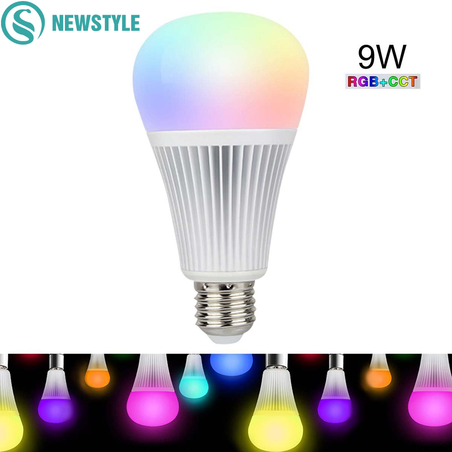 9W Mi Light LED Bulb E27 Dimmable LED Bulb Light RGB+CCT (2700-6500K) For Indoor Decoration