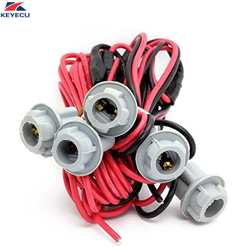 KEYECU 5PCS T10 Socket Clearance Cab Roof Running Light Extension Holder Harness Cab Marker Lights Wiring Kit