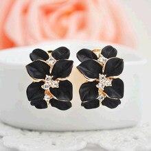KISSWIFE Crystal Gardenia Earrings Earrings Gold Black Lady Earrings With  Buckle Retro Retro Jewelry