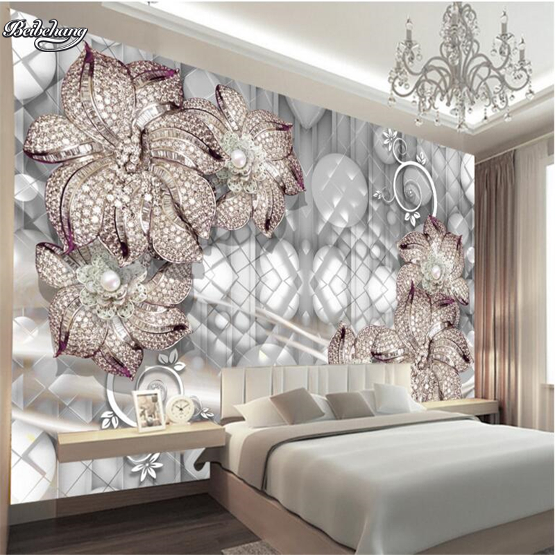 Custom Made Sossi Jewelry Home: Beibehang 3D Jewelry Lily Murals Living Room TV Backdrop