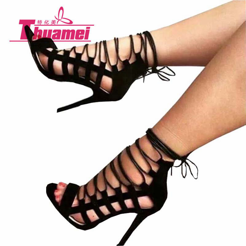 New Fashion Thin Heels Shoes Sexy Women Pumps Women's Shoes Fashion Super High Heels Women Shoes Best Lace Up Black #Y0596860L